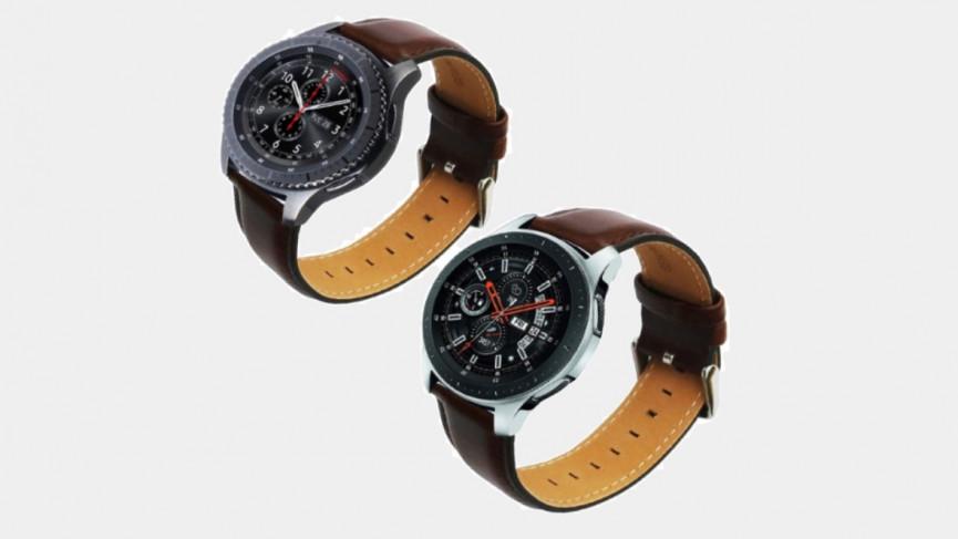 Elegante correa de cuero marrón de 45 mm para Samsung Galaxy Watch 3